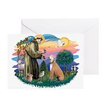 St. Fran #2/ Greyhound (lt.red) Greeting Cards (Pk