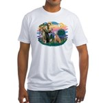 St. Fran #2/ Greyhound (lt.red) Fitted T-Shirt