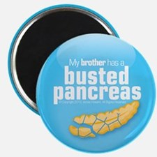 """My brother has a busted pancreas 2.25"""" magnet"""