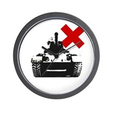 Tank Graffiti Stencil Tee Wall Clock