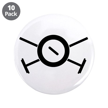 """Curling Pirate 3.5"""" Button (10 pack)"""