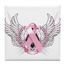 Awareness Tribal Pink Tile Coaster