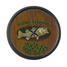 Gone Fishing Large Wall Clock