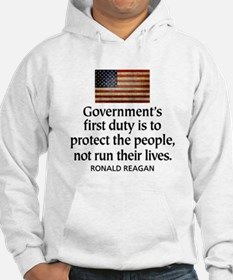 REAGAN: Government's first duty... QUOTE Hoodie