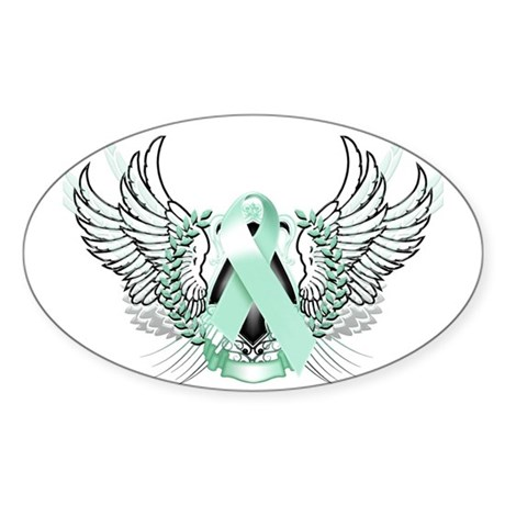 Awareness Tribal Teal Sticker (Oval 50 pk)