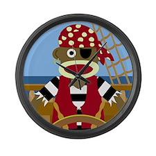 Sock Monkey Pirate Large Wall Clock