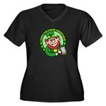 St. Patricks Day Women's Plus Size V-Neck Dark T-S