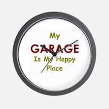 My Garage is my Happy Place Wall Clock