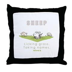 Licking Grass, Taking Names Throw Pillow