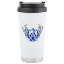 Awareness Tribal Blue Travel Mug