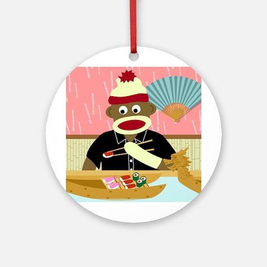 Sock Monkey Sushi Ornament (Round)