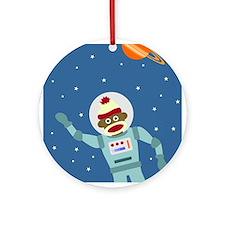 Sock Monkey Astronaut Ornament (Round)