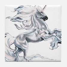 Ruth Thompson's White Unicorn Tile Coaster