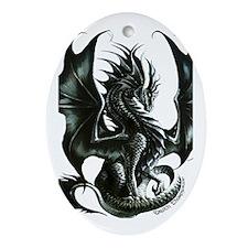 RThompson's Obsidian Dragon Ornament (Oval)