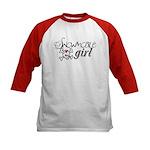 Snowmobile Girl Kids Baseball Jersey