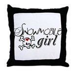 Snowmobile Girl Throw Pillow