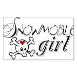 Snowmobile Girl Sticker (Rectangle 10 pk)