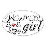 Snowmobile Girl Sticker (Oval 10 pk)
