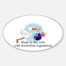 Stork Baby Australia USA Sticker (Oval)