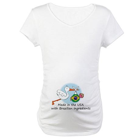 Stork Baby Brazil USA Maternity T-Shirt