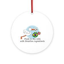 Stork Baby Brazil USA Ornament (Round)