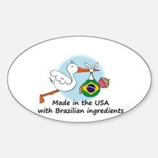 Stork Baby Brazil USA Sticker (Oval)