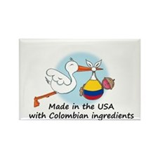 Stork Baby Colombia USA Rectangle Magnet