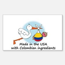 Stork Baby Colombia USA Decal