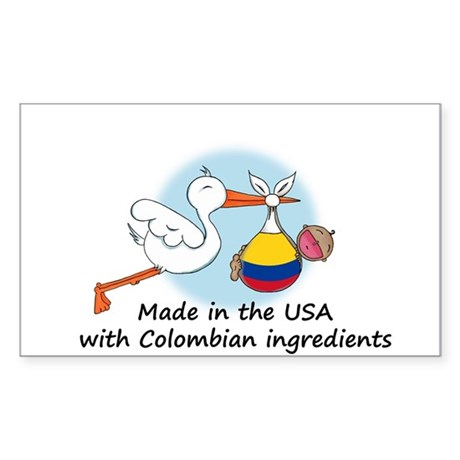 Stork Baby Colombia USA Sticker (Rectangle)