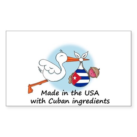 Stork Baby Cuba USA Sticker (Rectangle)