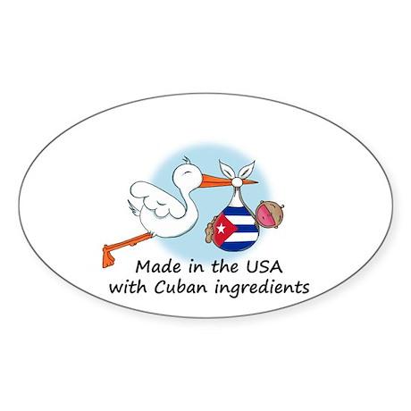 Stork Baby Cuba USA Sticker (Oval)