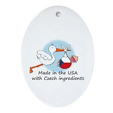 Stork Baby Czech Rep. USA Ornament (Oval)