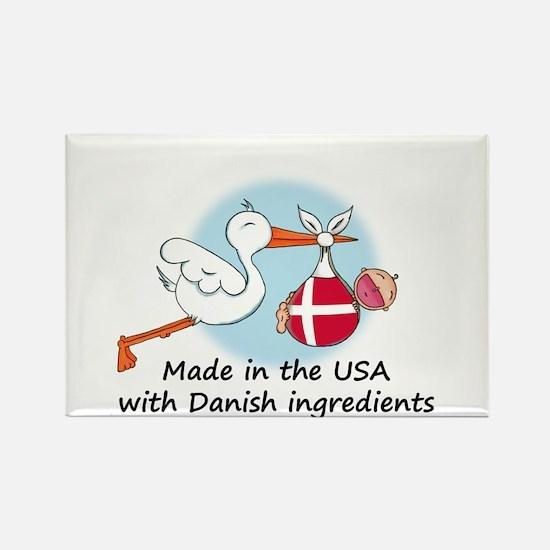 Stork Baby Denmark USA Rectangle Magnet