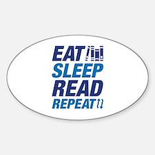Eat Sleep Read Repeat Sticker (Oval)