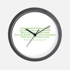 Yeats Faery Quote Wall Clock