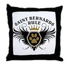 Saint Bernards Rule Throw Pillow