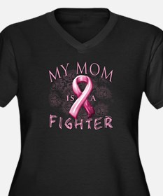 My Mom Is A Fighter Women's Plus Size V-Neck Dark