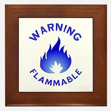 Flammable Warning (blue) Framed Tile