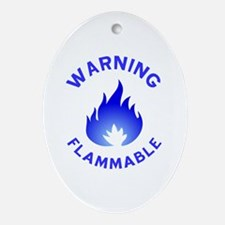 Flammable Warning (blue) Ornament (Oval)