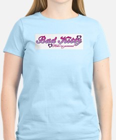 Women's Pink T-Shirt-  BAD KITTY