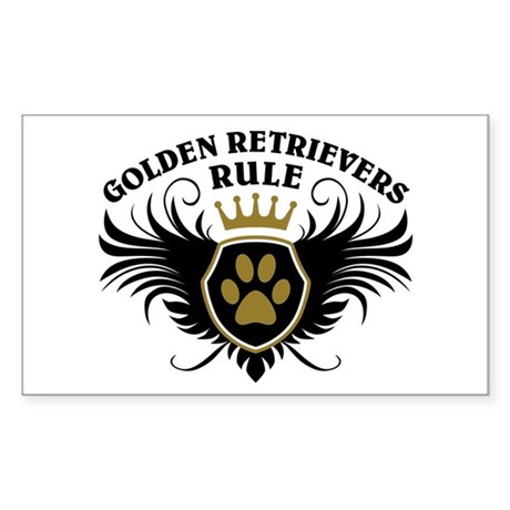 Golden Retrievers Rule Sticker (Rectangle)