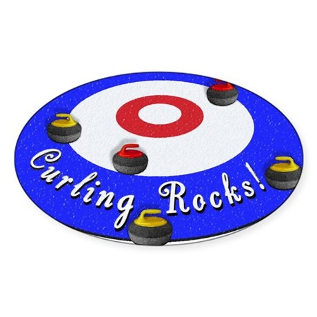 Curling Circle with Rocks Sticker (Oval 10 pk)