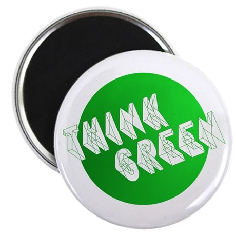 """green think3 2.25"""" Magnet (10 pack)"""