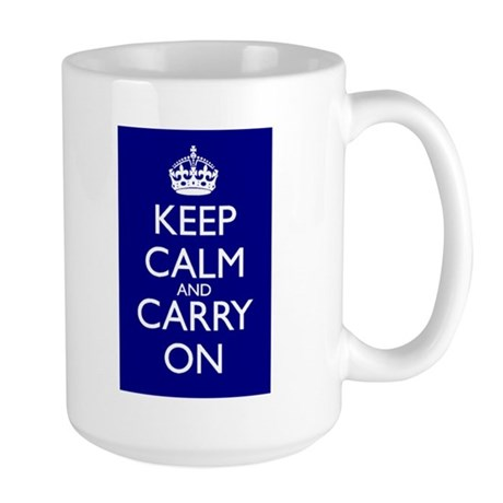 Keep Calm and Carry On Blue White Mug Front+Back
