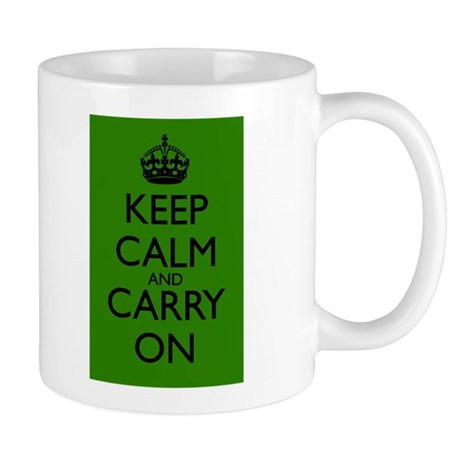 Keep Calm and Carry On Green Green Mug Front+Back