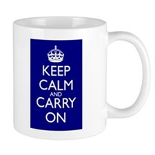 Keep Calm and Carry On Mug Navy Blue Front+Back