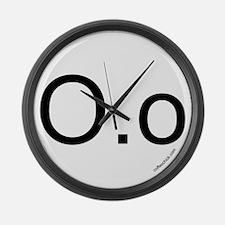 O.o emoticon Large Wall Clock