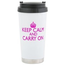 Keep Calm and Carry On Shocking Pink Travel Mug