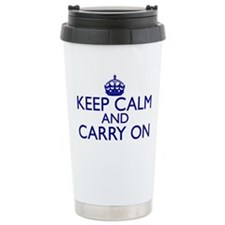 Keep Calm and Carry On Royal Blue Travel Mug