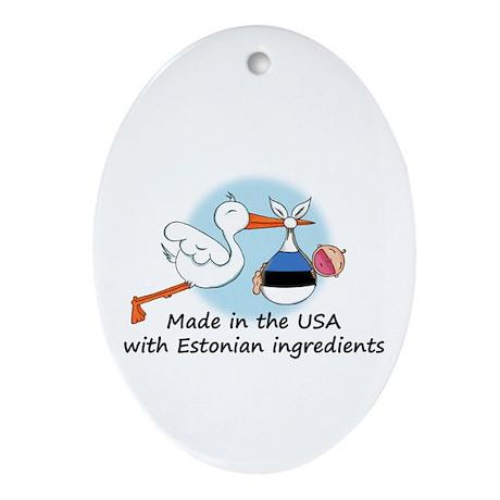 Stork Baby Estonia USA Ornament (Oval)